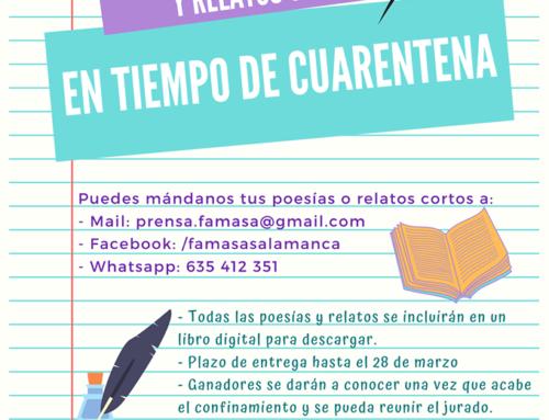 La Federación de Asociaciones de Mayores de Salamanca FAMASA abre su Concurso de Poesía y Relatos Cortos en Tiempo de Cuarentena
