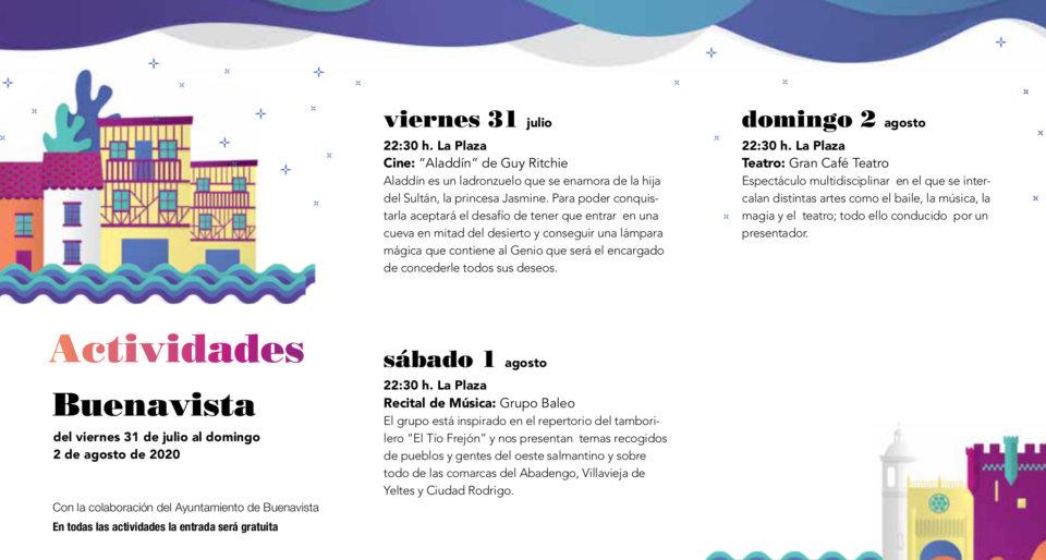Buenavista Noches de Cultura Julio agosto 2020