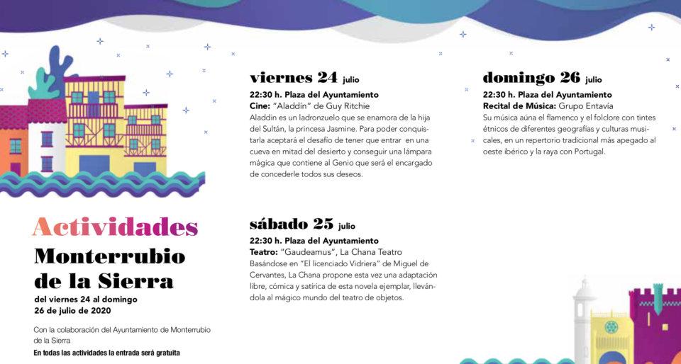 Monterrubio de la Sierra Noches de Cultura Julio 2020