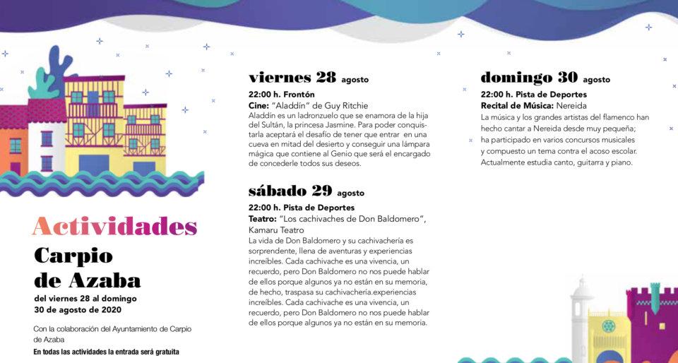 Carpio de Azaba Noches de Cultura Agosto 2020