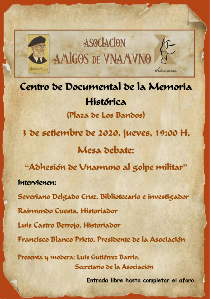 Centro Documental de la Memoria Histórica CDMH Adhesión de Unamuno al golpe militar Salamanca Septiembre 2020