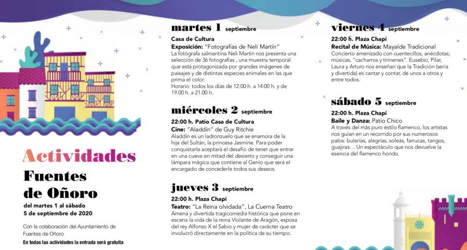 Fuentes de Oñoro Noches de Cultura Septiembre 2020