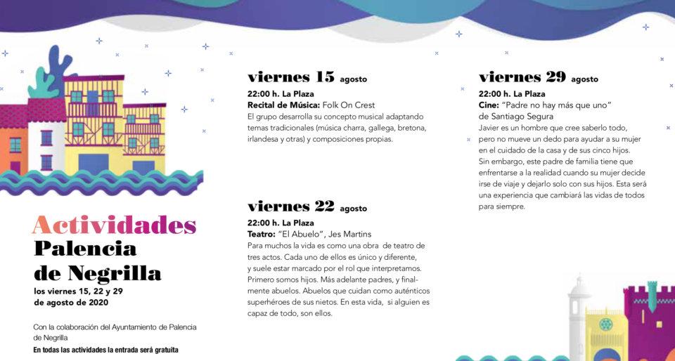 Palencia de Negrilla Noches de Cultura Agosto 2020