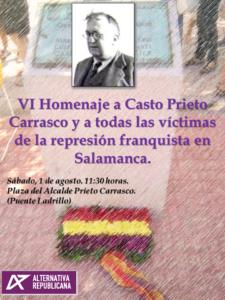 Salamanca VI Homenaje a Casto Prieto Alternativa Republicana Agosto 2020