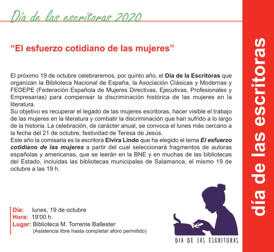 Torrente Ballester Día de las Escritoras 2020 Salamanca Octubre