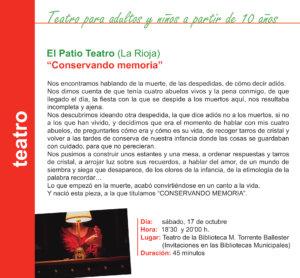 Torrente Ballester El Patio Teatro Salamanca Octubre 2020