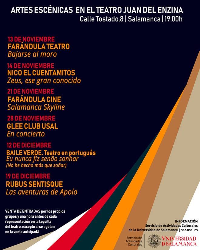 Artes Escénicas en el Teatro Juan del Enzina Universidad de Salamanca Noviembre diciembre 2020
