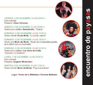 Programa Torrente Ballester IV Encuentro de Payasas A una nariz pegadas Salamanca Diciembre 2020