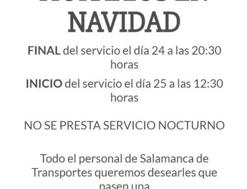 El servicio de transporte urbano de Salamanca para por Navidad 2020