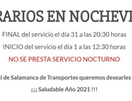 El servicio de transporte urbano de Salamanca para por Nochevieja 2020