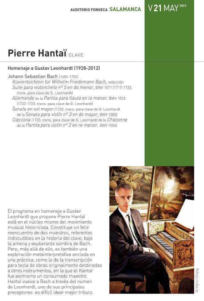 Hospedería Fonseca Salamanca Barroca 2020-2021 Pierre Hantaï Universidad de Salamanca Mayo