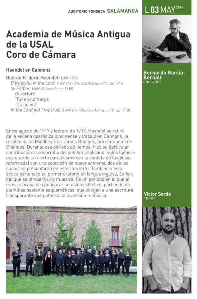 Hospedería Fonseca Salamanca Barroca 2020-2021 Academia de Música Antigua y Coro de Cámara de la Universidad de Salamanca Mayo