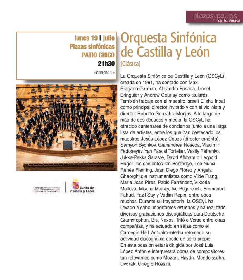 Patio Chico Orquesta Sinfónica de Castilla y León Plazas y Patios 2021 Julio