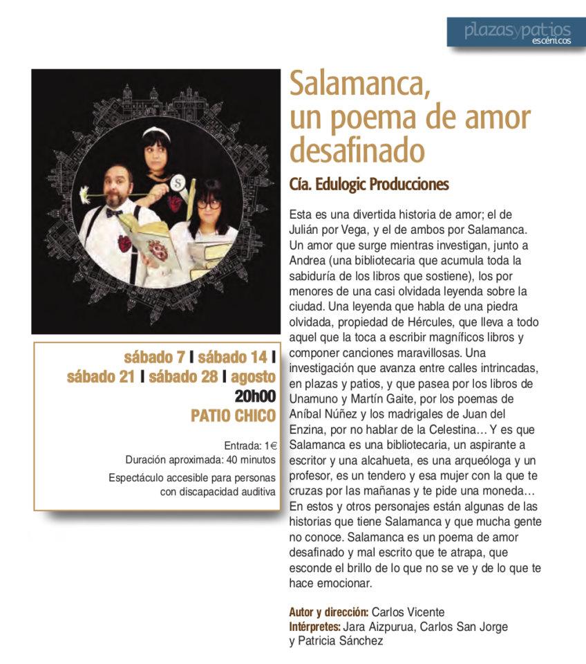 Patio Chico Salamanca, un poema de amor desafinado Plazas y Patios 2021 Agosto