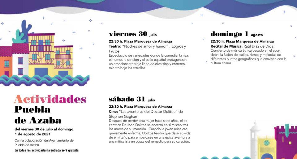 Puebla de Azaba Noches de Cultura Julio agosto 2021