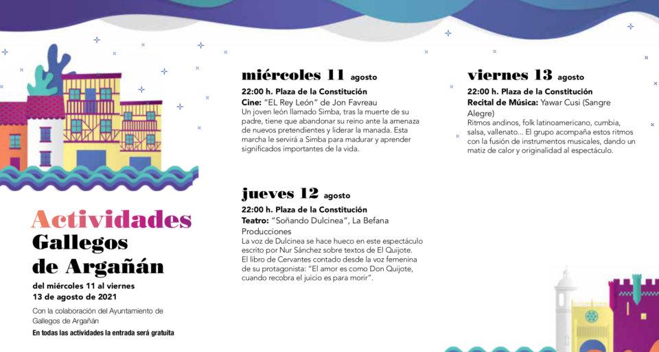 Gallegos de Argañán Noches de Cultura Agosto 2021