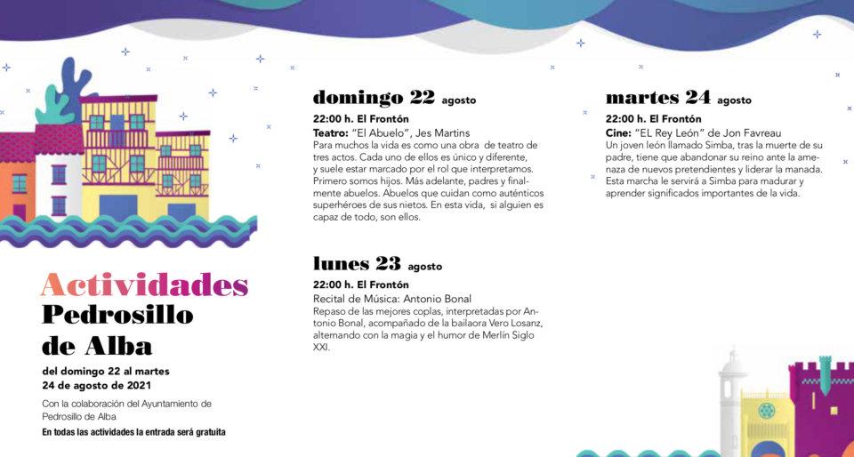 Pedrosillo de Alba Noches de Cultura Agosto 2021