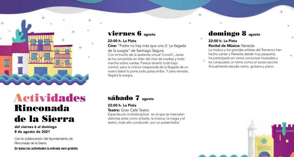 Rinconada de la Sierra Noches de Cultura Agosto 2021