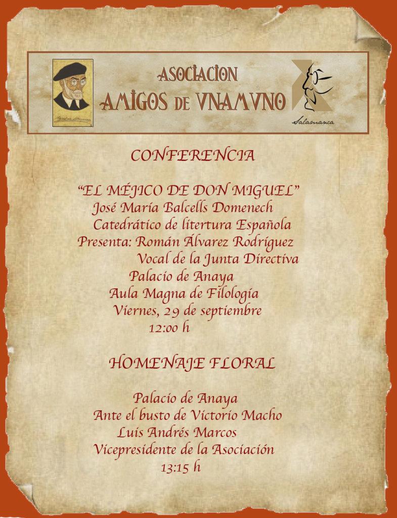 Homenaje a Miguel de Unamuno Salamanca Septiembre 2017