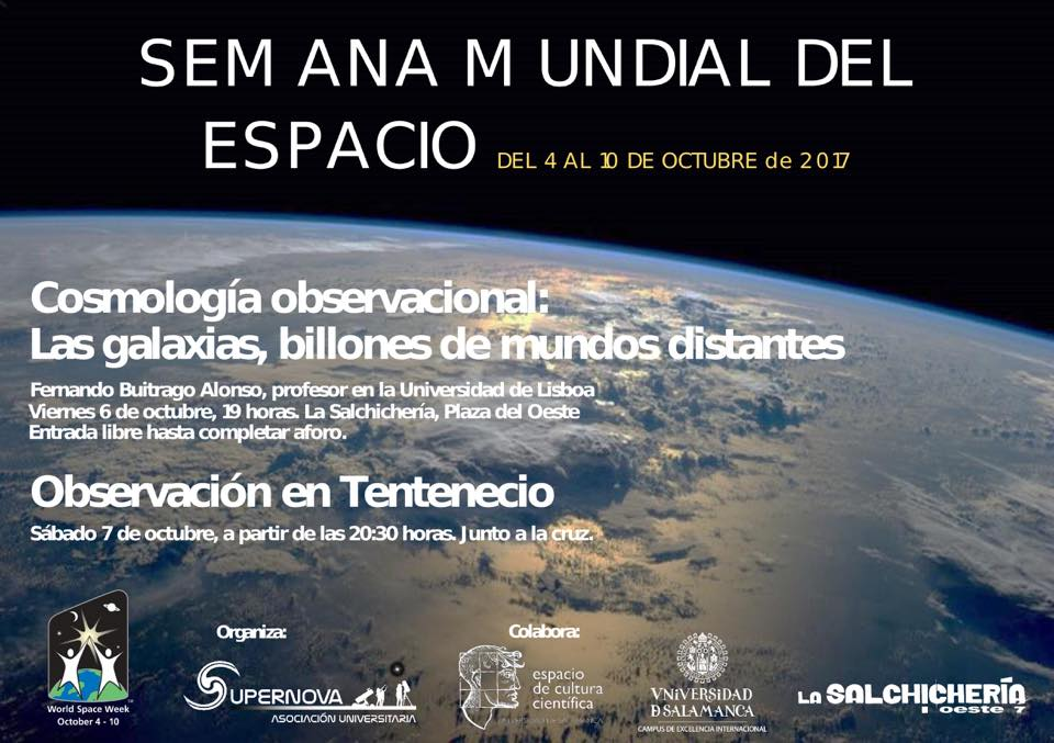 Asociación Universitaria Supernova Semana Mundial del Espacio Salamanca Octubre 2017