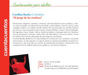 Carolina Rueda El juego de las sombras Torrente Ballester Salamanca Octubre 2017