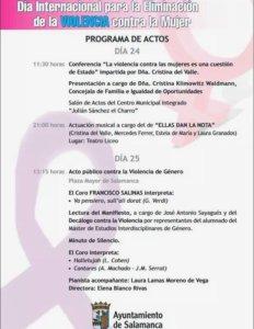 Día Internacional para la Eliminación de la Violencia contra la Mujer Salamanca Noviembre 2017
