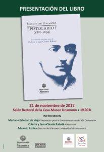 Casa Museo Miguel de Unamuno Miguel de Unamuno. Epistolario I (1880-1899) Salamanca Noviembre 2017