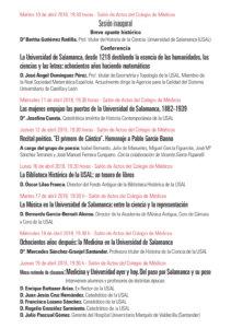 Colegio de Médicos XVI Ciclo Cultural Dedicado a los 800 años de la Universidad Salamanca Abril 2018