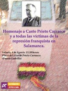 Salamanca IV Homenaje a Casto Prieto Alternativa Republicana Agosto 2018