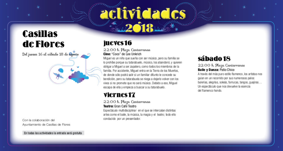 Casillas de Flores Noches de Cultura Agosto 2018
