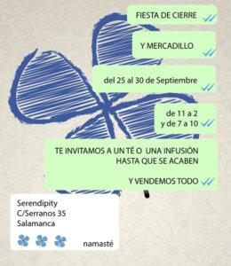Serendípity Fiesta de Despedida y Mercadillo Salamanca Septiembre 2018