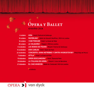 Cines Van Dyck Ópera y Ballet. Otoño 2018 Salamanca