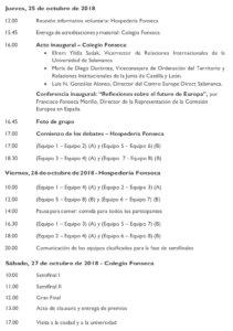 Programa Salamanca I Torneo Internacional de Debate Universitario Centro Europe Direct Octubre 2018
