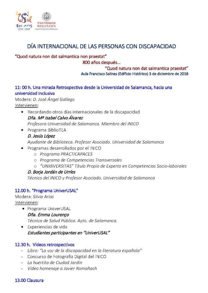Escuelas Mayores Día Internacional de las Personas con Discapacidad Salamanca Diciembre 2019