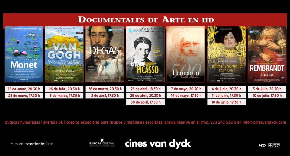 Cines Van Dyck Documentales de Arte Salamanca Enero febrero marzo abril mayo junio julio 2019