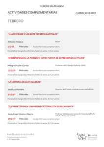 Facultad de Geografía e Historia Universidad de la Experiencia Salamanca Febrero 2019