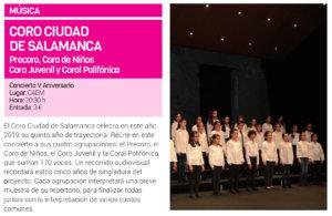Centro de las Artes Escénicas y de la Música CAEM Coro Ciudad de Salamanca Junio 2019