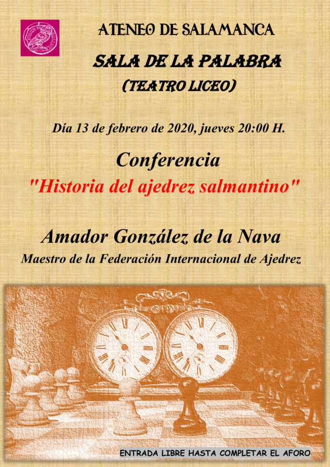 Teatro Liceo Historia del ajedrez salmantino Ateneo de Salamanca Febrero 2020