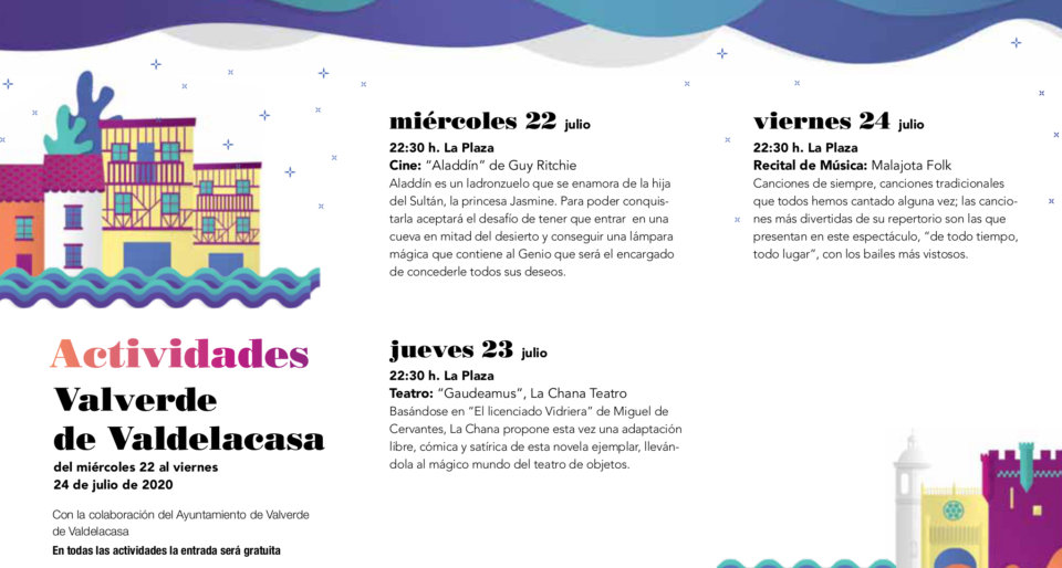 Valverde de Valdelacasa Noches de Cultura Julio 2020