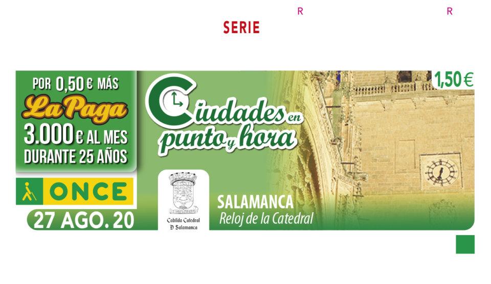 El reloj de la catedral de Salamanca marca la hora en el cupón de la ONCE