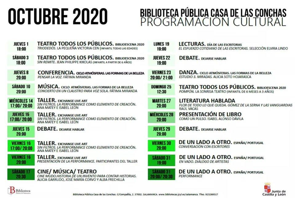 Calendario de Actividades Casa de las Conchas Salamanca Octubre 2020
