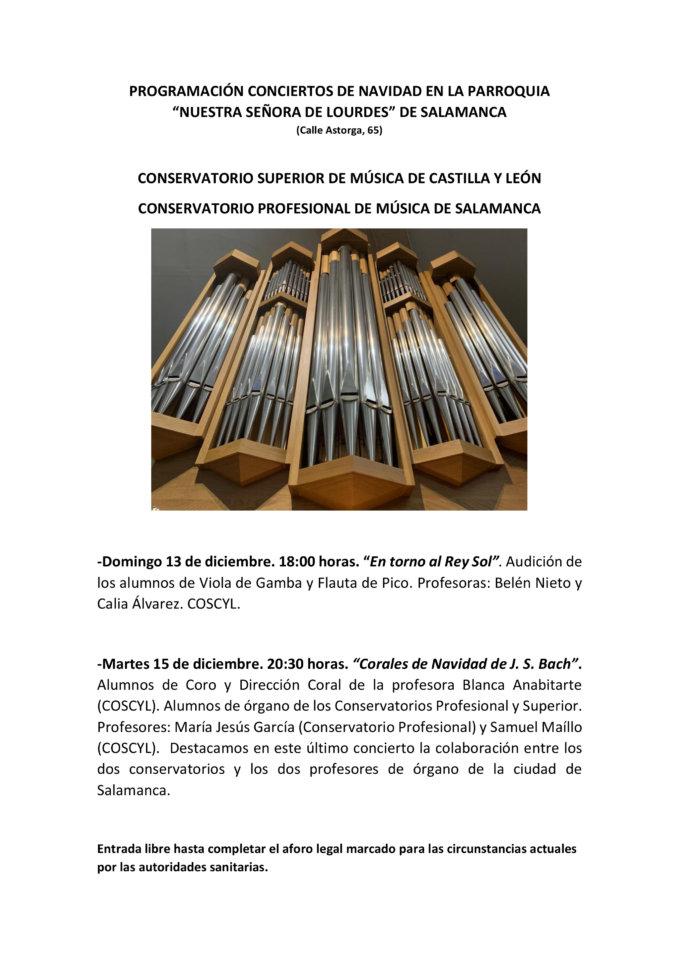 Iglesia de Nuestra Señora de Lourdes Conciertos de Navidad Salamanca Diciembre 2020