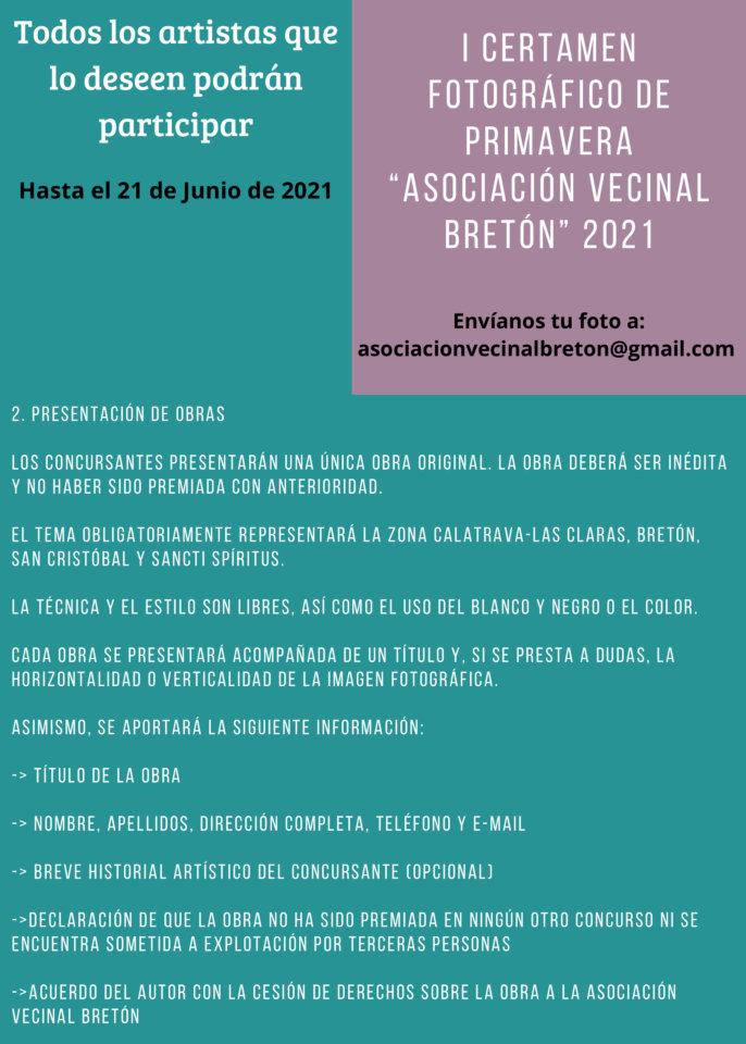 La Asociación Vecinal Bretón convoca su I Certamen Fotográfico de Primavera